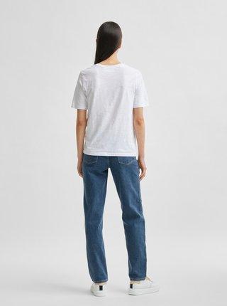 Bílé tričko s potiskem Selected Femme Nina