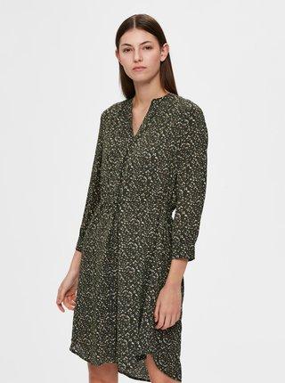 Tmavě zelené květované šaty Selected Femme Metha-Damina