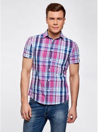 Košeľa kockovaná s vreckom na prsiach OODJI