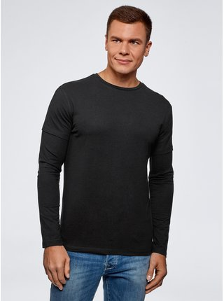 Tričko bavlnené s dvojitým rukávom OODJI