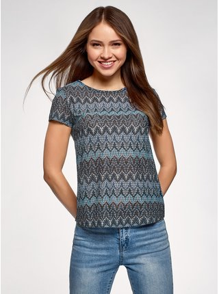 Tričko z materiálu s výraznou texturou s etnickým vzorem  OODJI