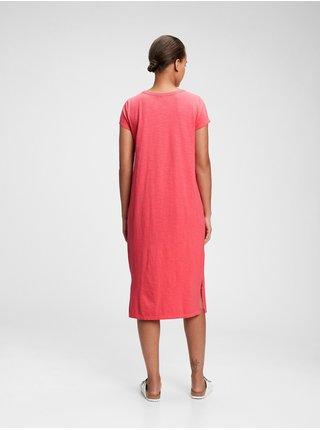 Červené dámské šaty midi t-shirt dress GAP