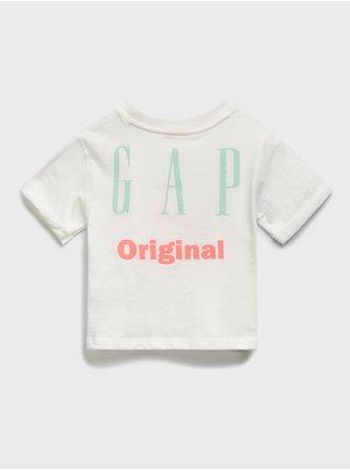 Bílé holčičí dětské tričko GAP Logo t-shirt