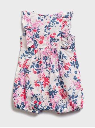 Růžový holčičí dětský overal floral woven GAP