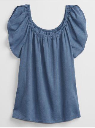 Modrý dámský top ruffle sleeve GAP