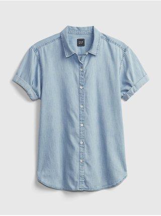 Modrá dámská košile short sleeve roll cuff shirt GAP