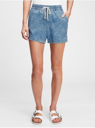 Modré dámské džínové kraťasy girlfriend pull-on shorts mineral carra split hem GAP