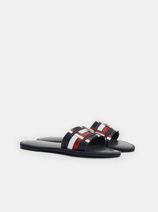 Černé dámské kožené pantofle Tommy Hilfiger