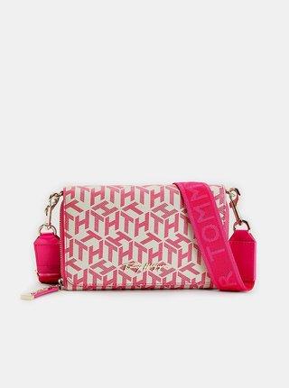 Bielo-ružová vzorovaná crossbody kabelka/listová kabelka Tommy Hilfiger