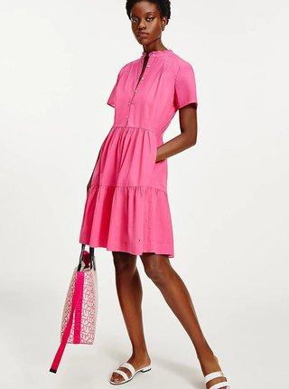 Bílo-růžová vzorovaná kabelka Tommy Hilfiger