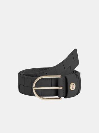Čierny dámsky kožený opasok Tommy Hilfiger