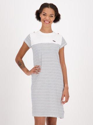 Biele pruhované šaty s opaskom Alife and Kickin