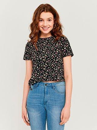 Černé květované krátké tričko TALLY WEiJL
