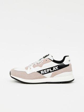 Bílo-béžové pánské tenisky se semišovými detaily Replay