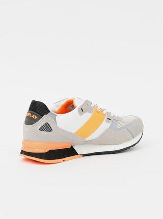 Oranžovo-béžové pánské tenisky v semišové úpravě Replay