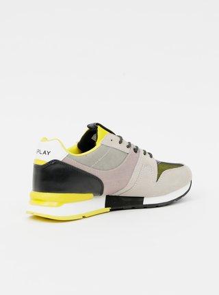 Žluto-béžové pánské tenisky se semišovými detaily Replay