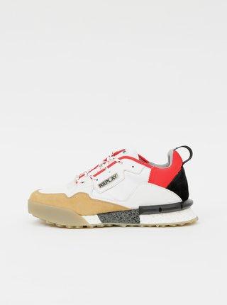 Červeno-bílé pánské kožené tenisky Replay