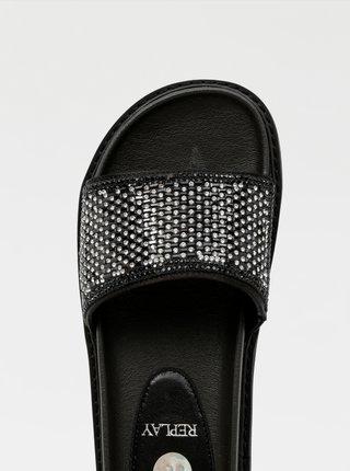 Čierne dámske vzorované šľapky Replay