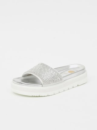 Dámské vzorované pantofle ve stříbrné barvě Replay