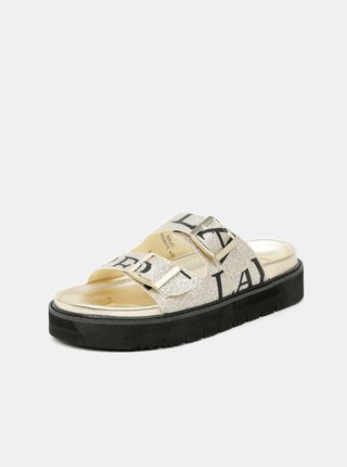 Dámské vzorované pantofle ve zlaté barvě Replay