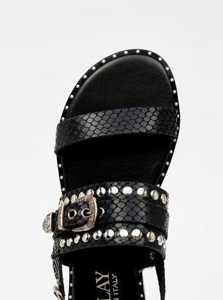 Černé dámské vzorované sandály s ozdobnými detaily Replay