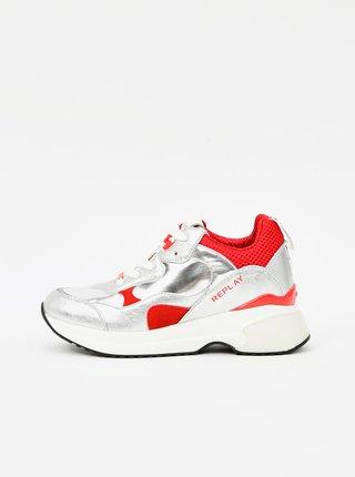 Tenisky pre ženy Replay - strieborná, červená