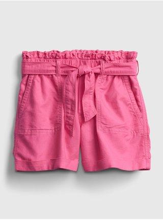 Růžové holčičí dětské kraťasy high-rise paperbag waist shorts GAP