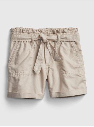Béžové holčičí dětské kraťasy high-rise paperbag waist shorts GAP