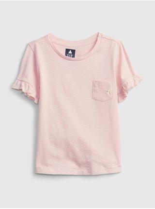 Růžový holčičí dětské top pocket wash effect t-shirt GAP
