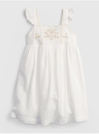 Bílé holčičí dětské šaty emb yoke dress GAP