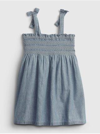 Modré holčičí dětské šaty tie smocked dress GAP