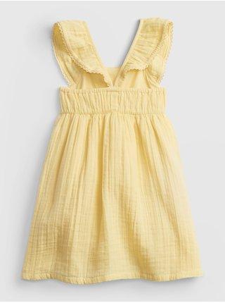 Žluté holčičí dětské šaty gauze fltr dress GAP