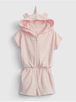 Růžové holčičí dětské šaty hood terry romper GAP