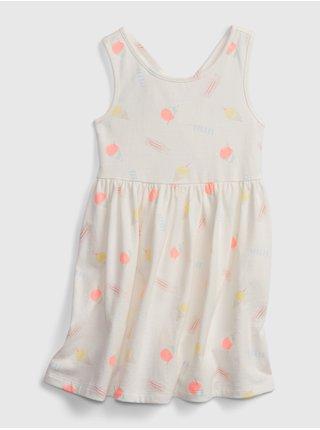 Smetanové holčičí dětské šaty back sk8r dress GAP