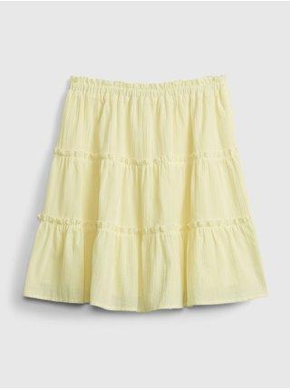 Žlutá holčičí dětská sukně teen tiered skirt GAP