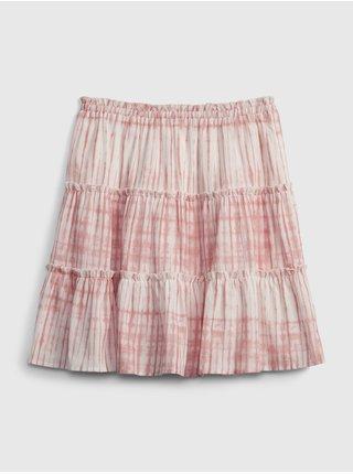 Růžová holčičí dětská sukně teen tiered skirt GAP