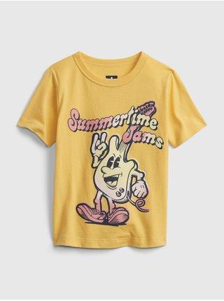 Žluté klučičí dětské tričko short sleeve graphic t-shirt GAP