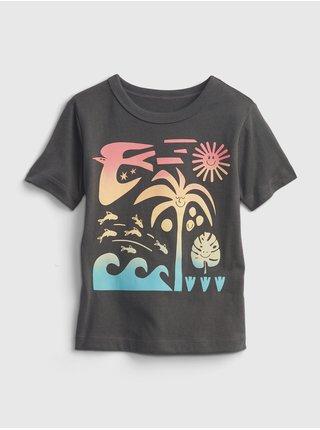 Šedé klučičí dětské tričko short sleeve graphic t-shirt GAP