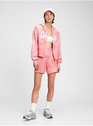 Růžové dámské kraťasy GAP Logo high rise boyfriend shorts