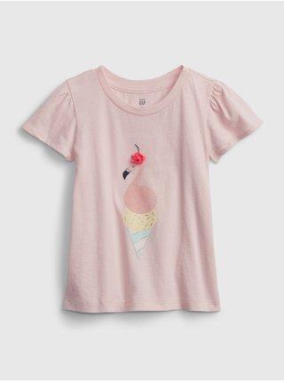 Růžové holčičí dětské tričko ruffle graphic tank GAP