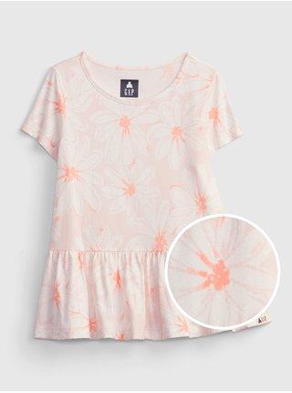 Růžový holčičí dětský top 100% organic cotton mix and match print tunic top GAP