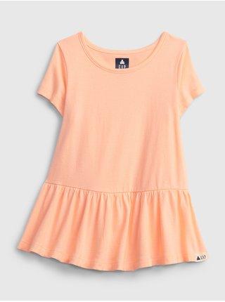 Oranžový holčičí dětský top 100% organic cotton mix and match print tunic top GAP