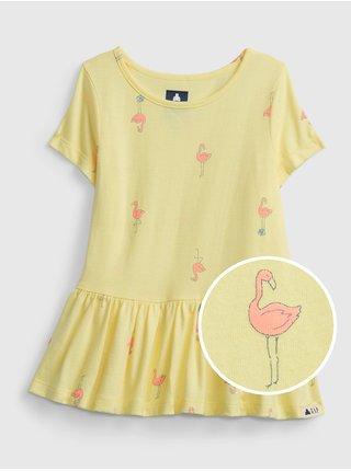Žlutý holčičí dětský top 100% organic cotton mix and match print tunic top GAP