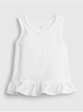 Bílý holčičí dětský top split ruffle tank GAP