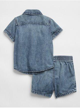 Modrý klučičí baby set top and shorts denim GAP