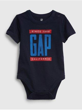 Modré klučičí baby body GAP Logo arch short sleeve