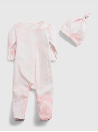 Růžový holčičí baby overal 100% organic cotton first favorite tie-dye one-piece GAP