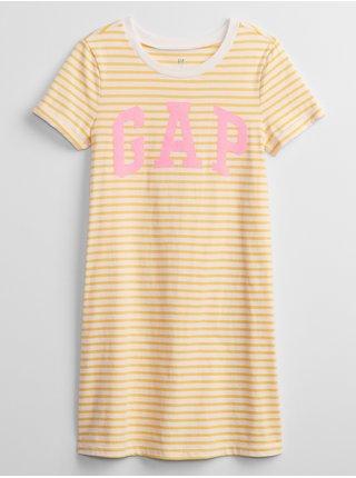 Žluté holčičí dětské šaty GAP Logo t-shirt dress