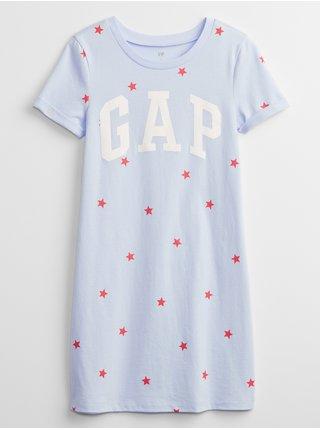 Modré holčičí dětské šaty GAP Logo t-shirt dress