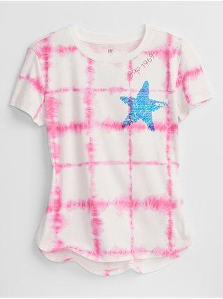 Růžové holčičí dětské tričko tie-dye flippy sequin t-shirt GAP